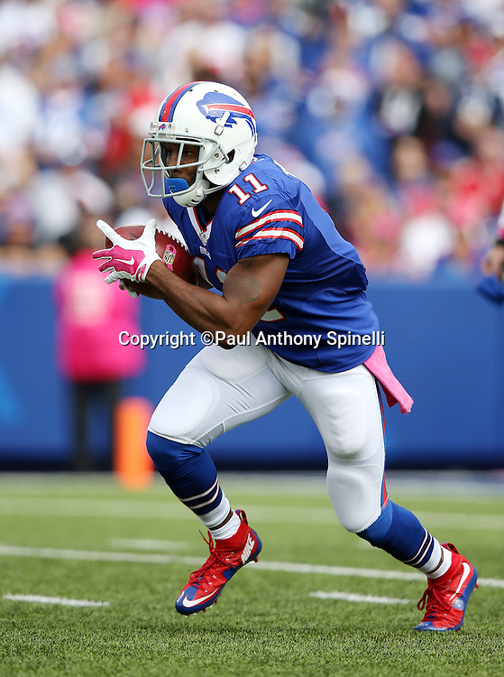 Buffalo Bills wide receiver Marcus Thigpen (11) returns a first quarter punt during the 2015 NFL week 4 regular season football game against the New York Giants on Sunday, Oct. 4, 2015 in Orchard Park, N.Y. The Giants won the game 24-10. (©Paul Anthony Spinelli)