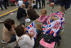 LOCATION, UK  29/04/2011. The Royal Wedding of HRH Prince William to Kate Middleton. A family enjoying the party in Trafalgar Square. Photo credit should read PAUL TREACY/LNP. Please see special instructions. © under license to London News Pictures