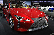 A red Lexus LC500 luxury sports coupe is on display at the New York International Auto Show 2016, at the Jacob Javits Center. This was Press Preview Day one of NYIAS, and the Trade Show will be open to the public for ten days, March 25th through April 3rd.