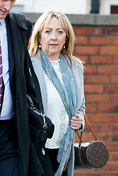 © Licensed to London News Pictures. 13/11/2017. Wakefield UK. Denise Courtney (sister of Ann Maguire) arrives at Wakefield Coroners Court this morning. The inquest into the death of Leeds teacher Ann Maguire is starting today at Wakefield Coroners Court. Mrs Maguire, a 61 year old Spanish teacher, was stabbed to death by Will Cornick at Corpus Christi Catholic College in Leeds in April 2014. The school pupil, who was 15 at the time, admitted murdering Mrs Maguire and was given a life sentence later that year. Since then, some of Mrs Maguire's family have campaigned for further investigation into her death as they believe more could have been done to prevent the tragedy. Photo credit: Andrew McCaren/LNP