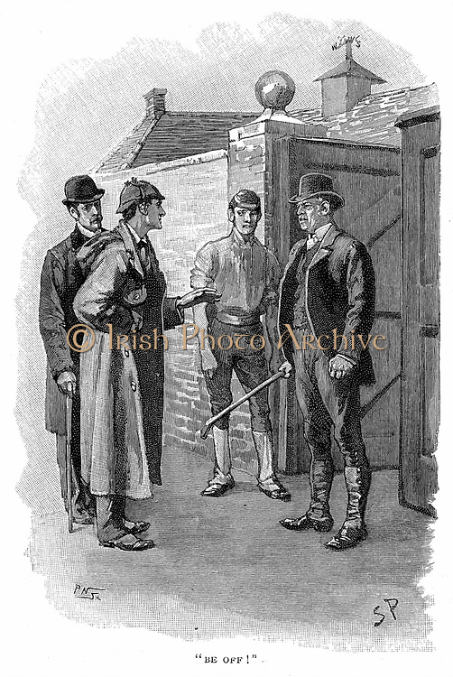 The Adventure of Silver Blaze': Encounter between Silas Brown, the trainer who was hiding the lost racehorse Silver Blaze, and Holmes.  Arthur Conan Doyle's story published in 'The Strand Magazine', London, 1892.  Illustratration  Sidney E Paget, the first artist to create an image of Holmes.