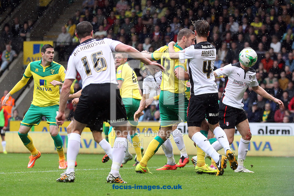 Jos Hooiveld of Norwich battles his way through a crowded goalmouth despite being blatantly held by K&aacute;ri &Aacute;rnason of Rotherham United during the Sky Bet Championship match at Carrow Road, Norwich<br /> Picture by Paul Chesterton/Focus Images Ltd +44 7904 640267<br /> 04/10/2014