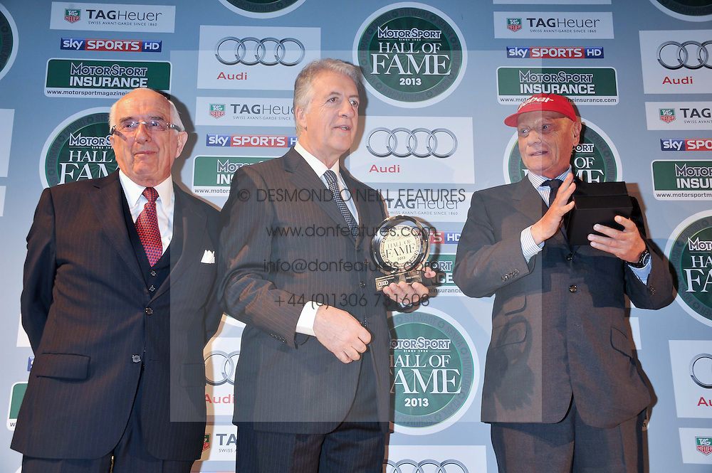 Left to right, JACK HEUER the great grandson of the founder of Tag Heuer, PIERO FERRARI the second and only living son of Enzo Ferrari and NIKI LAUDA at the Motor Sport magazine's 2013 Hall of Fame awards at The Royal Opera House, London on 25th February 2013.