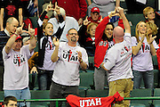 University of Utah fans and teammates cheer on their competitors at the 2011 Women's NCAA Gymnastics Championship Individual Event Finals on April 17, in Cleveland, OH. (photo/Jason Miller)