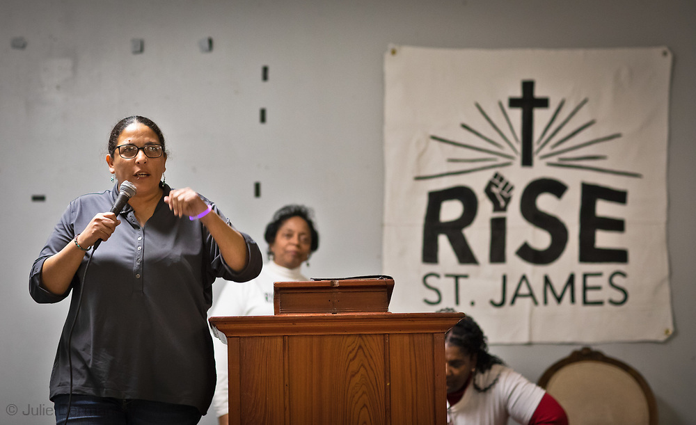 Cherri Foytlin at a RISE St James rivial tent event.