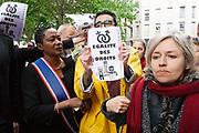 "France, Paris, 19 May 2017. Following the Petition by the associations ""SOS La Chapelle"" and ""Demain La Chapelle"" regarding the women's insecurity in the ""La Chapelle-Pajol"" district, north-east of Paris, candidate of the ""Les Républicains"" party for the legislative elections, Elizabeth de Rozières (Babette de Rozières), Called an action to promote the petition. Activists Counter-protest to denounce the stigmatisation of immigrants."