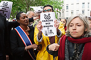 "France, Paris, 19 May 2017. Following the Petition by the associations ""SOS La Chapelle"" and ""Demain La Chapelle"" regarding the women's insecurity in the ""La Chapelle-Pajol"" district, north-east of Paris, candidate of the ""Les Républicains"" party for the legislative elections, Elizabeth de Rozières (Babette de Rozières), Called an action to promote the petition. Activists Counter-protest to denounce the stigmatisation of immigrants."