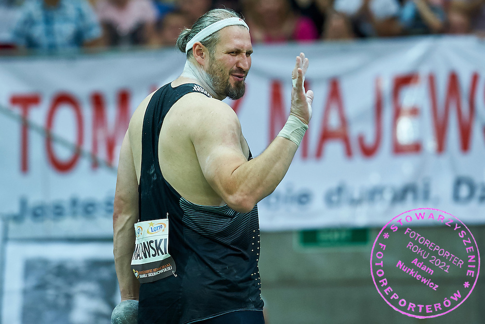 Warsaw, Poland - 2016 August 28: Tomasz Majewski from Poland competes in men's shot put competition during athletics meeting Kamila Skolimowska Memorial 2016 at PGE National Stadium  August 28, 2016 w Warsaw, Poland.<br /> <br /> Adam Nurkiewicz declares that he has no rights to the image of people at the photographs of his authorship.<br /> <br /> Picture also available in RAW (NEF) or TIFF format on special request.<br /> <br /> Any editorial, commercial or promotional use requires written permission from the author of image.<br /> <br /> Mandatory credit:<br /> Photo by &copy; Adam Nurkiewicz