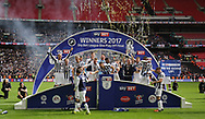 Millwall players celebrate winning the Sky Bet League 1 play-off final at Wembley Stadium, London<br /> Picture by Glenn Sparkes/Focus Images Ltd 07939664067<br /> 20/05/2017