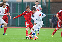 YSTRAD MYNACH, WALES - Thursday, February 19, 2015: Wales' Matthew Smith in action against Czech Republic's Antonin Vanicek during a friendly match at the Centre of Sporting Excellence. (Pic by Carl Robertson/Propaganda)