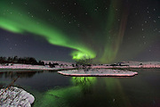 Northern lights at Þingvellir National Park, southwest Iceland