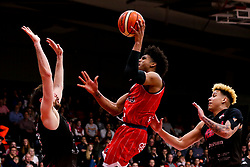 Justin Gray of Bristol Flyers shoots - Photo mandatory by-line: Robbie Stephenson/JMP - 11/01/2019 - BASKETBALL - Leicester Sports Arena - Leicester, England - Leicester Riders v Bristol Flyers - British Basketball League Championship