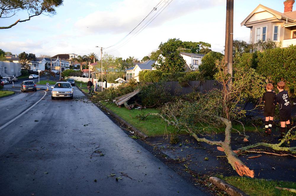 Damage after a tornado swept through Devonport, Auckland, New Zealand, Tuesday, October 08, 2013. Credit:SNPA / Gareth Hawken
