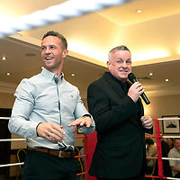 Chris Millar Testimonial Boxing Night at The Salutation Hotel, Perth..15.09.18<br />Chris MIllar and Bill Leckie during the game of Heads and Tails<br />Picture by Graeme Hart.<br />Copyright Perthshire Picture Agency<br />Tel: 01738 623350  Mobile: 07990 594431