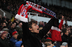 Stoke City fans celebrate after Bojan Krkic (Not Pictured) scored their first goal - Mandatory by-line: Jack Phillips/JMP - 17/12/2016 - FOOTBALL - Bet365 Stadium - Stoke-on-Trent, England - Stoke City v Leicester City - Premier League