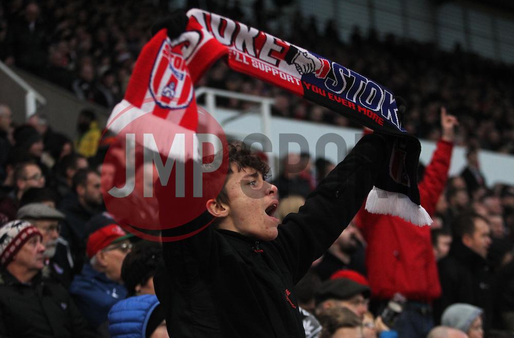 Stoke City fans celebrate after Bojan Krkic (Not Pictured) scored their first goal - Mandatory by-line: Jack Phillips/JMP - 17/12/2016 - FOOTBALL - Bet365 Stadium - Stoke-on-Trent, England - Stoke City v Leicester City - Premier League