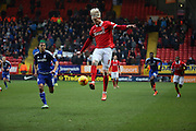 Charlton Athletic striker, Simon Makienok (9) with a piece of skill during the Sky Bet Championship match between Charlton Athletic and Cardiff City at The Valley, London, England on 13 February 2016. Photo by Matthew Redman.