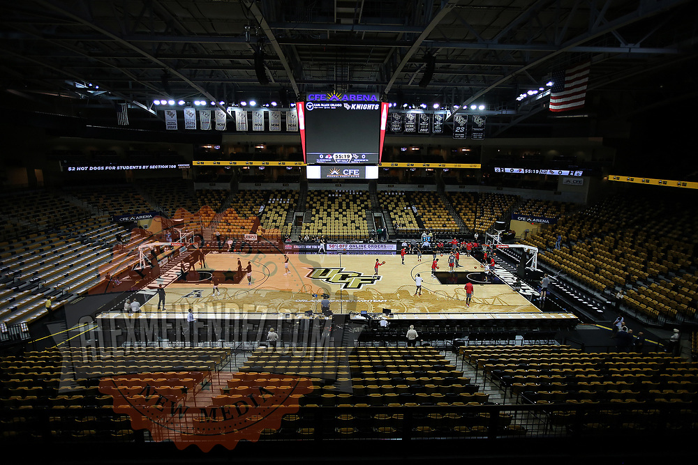 ORLANDO, FL - NOVEMBER 15:  A general view of the court prior to a NCAA basketball game between the Gardner-Webb Runnin Bulldogs and the UCF Knights at the CFE Arena on November 15, 2017 in Orlando, Florida. (Photo by Alex Menendez/Getty Images) *** Local Caption ***