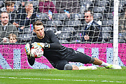Fulham goalkeeper Marcus Bettinelli (1) warms up before the EFL Sky Bet Championship match between Fulham and Aston Villa at Craven Cottage, London, England on 17 April 2017. Photo by Jon Bromley.