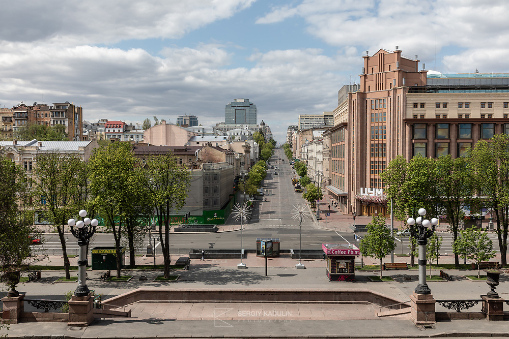 This photo was taken on Sunday, April 24, 2020. Kyiv city is under lockdown due to Covid-19.<br /> The picture shows part of Hreschatyk street, main street of the city, with the Central Universal Store (shopping center) on the right. Straight on, you can see B. Khmelnitskogo street.