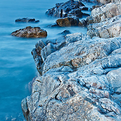 The rock ledges at Wallis Sands State Park in Rye, New Hampshire.