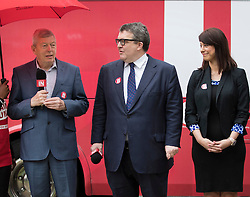 © Licensed to London News Pictures. 10/05/2016. London, UK. Gloria De Piero (R), Shadow Minister for Young People and deputy party leader Tom Watson look on as Alan Johnson, Chairman of 'Labour In for Britain' appears at an EU referendum campaign launch. Photo credit: Peter Macdiarmid/LNP