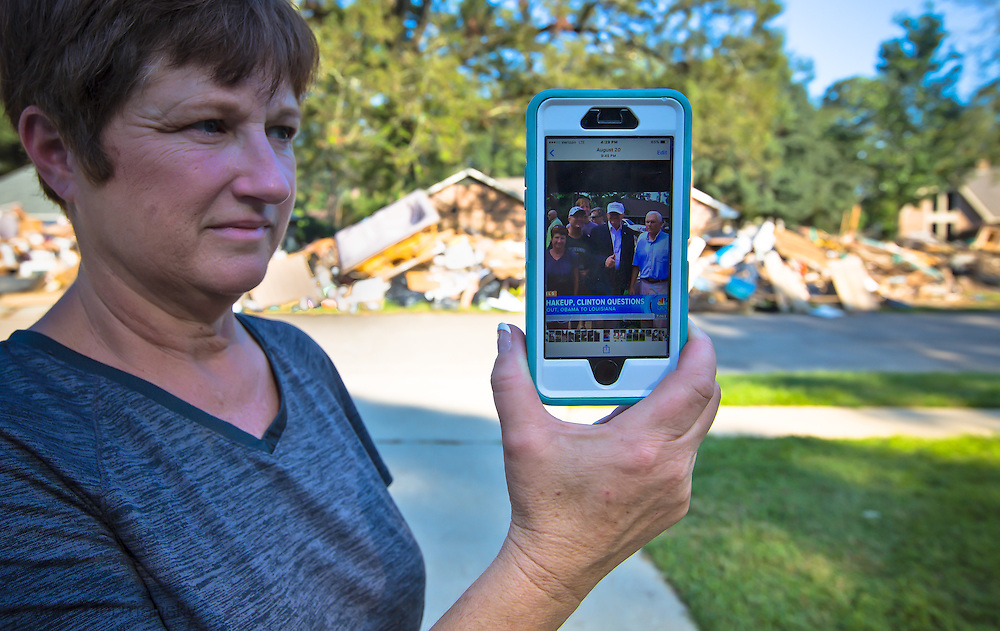 Sept 25, Denham Springs, The contents from Zanie Whitehead's home and those of her neighbors remain on Chaperral Drive six weeks after the flood, a street that Donald Trump visited with Mike Pence on August 19.