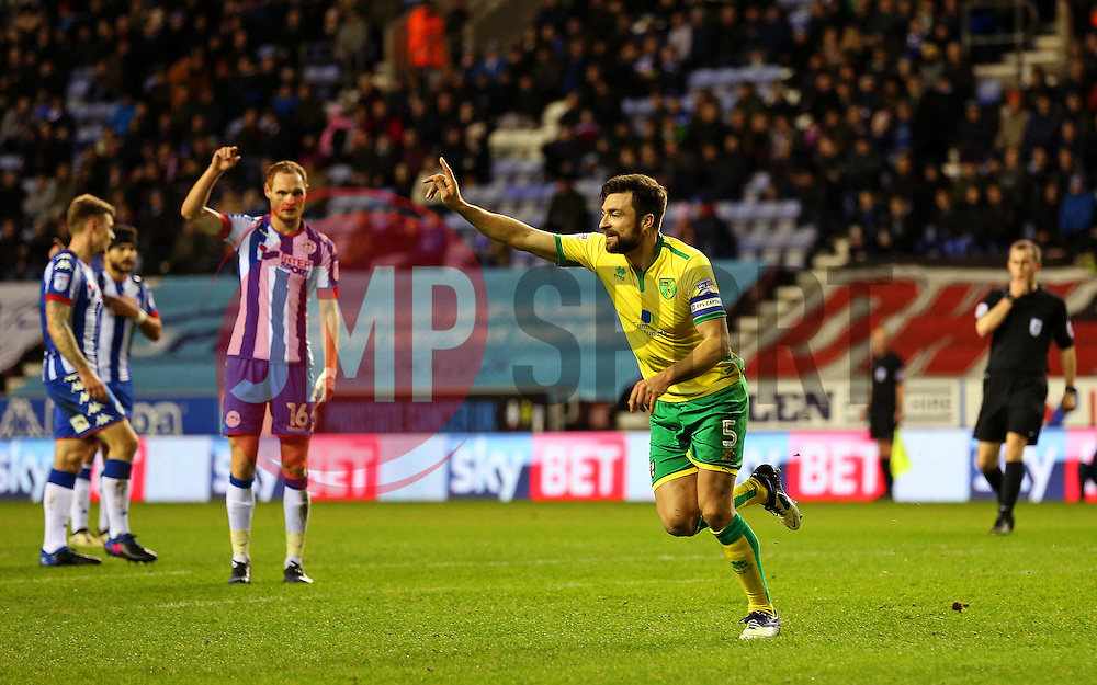 Russell Martin of Norwich City celebrates before his goal is disallowed for offside - Mandatory by-line: Matt McNulty/JMP - 07/02/2017 - FOOTBALL - DW Stadium - Wigan, England - Wigan Athletic v Norwich City - Sky Bet Championship