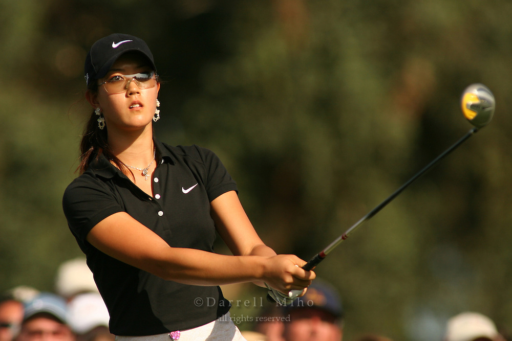 Apr. 1, 2006; Rancho Mirage, CA, USA; Michelle Wie watches her tee shot during the 3rd round of the Kraft Nabisco Championship at Mission Hills Country Club. ..Mandatory Photo Credit: Darrell Miho.Copyright © 2006 Darrell Miho .