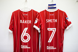 Shirts of Nathan Baker and Korey Smith hang in the Bristol City dressing room - Rogan/JMP - 18/11/2017 - Hillsborough Stadium - Sheffield, England - Sheffield Wednesday v Bristol City - Sky Bet Championship.