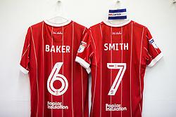 Shirts of Nathan Baker and Korey Smith hang in the Bristol City dressing room - Rogan/JMP - 18/11/2017 - Hillsborough Stadium - Sheffield, England - Sheffield Wednesday v Bristol City - Sky Bet Championship.