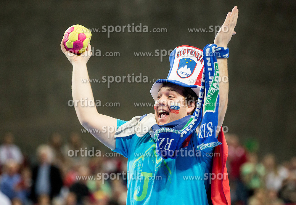 Supporters of Slovenia during handball match between National teams of Slovenia and Spain on Day 4 in Preliminary Round of Men's EHF EURO 2016, on January 18, 2016 in Centennial Hall, Wroclaw, Poland. Photo by Vid Ponikvar / Sportida