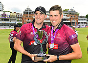 Craig Overton of Somerset and Jamie Overton of Somerset with the One Day Cup trophy during the Royal London 1 Day Cup Final match between Somerset County Cricket Club and Hampshire County Cricket Club at Lord's Cricket Ground, St John's Wood, United Kingdom on 25 May 2019.