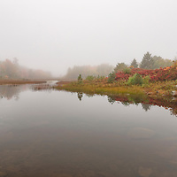 Fog forms over Duck Brook Pond following a heavy afternoon rain, in Acadia National Park, Bar Harbor, Maine.