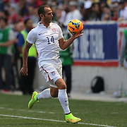 Brad Davis, USA, keeps the ball in play with his hand during the US Men's National Team Vs Turkey friendly match at Red Bull Arena.  The game was part of the USA teams three-game send-off series in preparation for the 2014 FIFA World Cup in Brazil. Red Bull Arena, Harrison, New Jersey. USA. 1st June 2014. Photo Tim Clayton