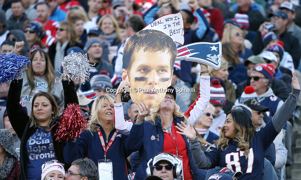 New England Patriots fans wave a New England Patriots quarterback Tom Brady (12) head sign as they cheer for the team during the 2015 week 9 regular season NFL football game against the Washington Redskins on Sunday, Nov. 8, 2015 in Foxborough, Mass. The Patriots won the game 27-10. (©Paul Anthony Spinelli)