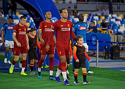 NAPLES, ITALY - Tuesday, September 17, 2019: Liverpool's Virgil van Dijk walks out before the UEFA Champions League Group E match between SSC Napoli and Liverpool FC at the Studio San Paolo. (Pic by David Rawcliffe/Propaganda)