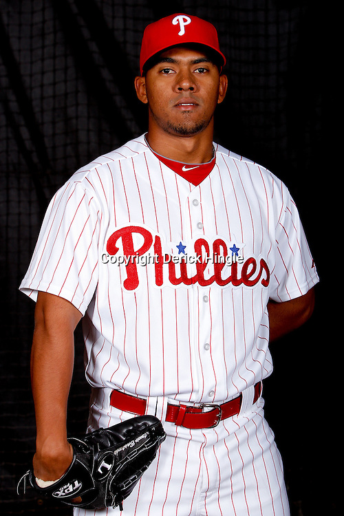 February 22, 2011; Clearwater, FL, USA; Philadelphia Phillies relief pitcher Antonio Bastardo (58) poses during photo day at Bright House Networks Field. Mandatory Credit: Derick E. Hingle