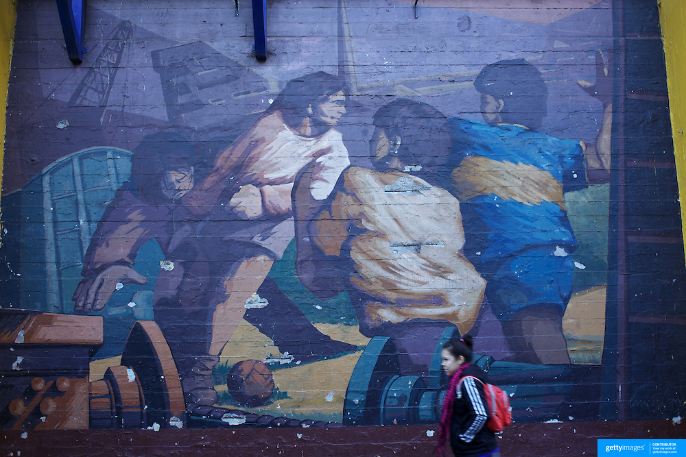 A mural depicting the history of the region of LA Boca, painted on a wall of Boca Juniors football stadium,  La Bombonera, in La Boca region of Buenos Aires, Argentina, 25th June 2010. Photo Tim Clayton.
