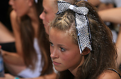 Girl during final ceremony at second day of European Cheerleading Championship 2008, on July 6, 2008, in Arena Tivoli, Ljubljana, Slovenia. (Photo by Vid Ponikvar / Sportal Images).