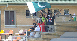 Johannesburg 19-12-18. South Africa Invitation XI vs Pakistan. Pakistan open their tour of South Africa with a three-day match at Sahara Willowmoore Park, Benoni. Day 1, afternoon session.  Pakistan fans wave their countries flag during the afternoon session. Picture: Karen Sandison/African News Agency(ANA)
