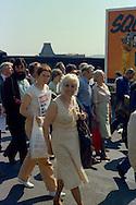Sylvia Greenwood, TGWU, at the start of a march against anti trade union legislation. Sheffield 1980.