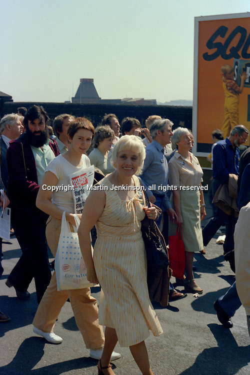 Sylvia Greenwood, TGWU, at the start of a march against anti trade union legislation. Sheffield 1980.