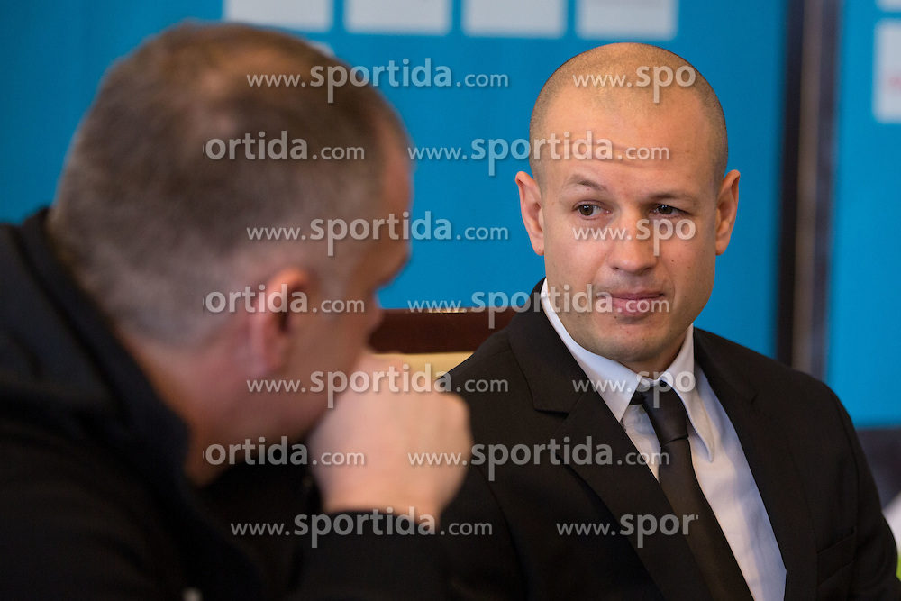 Matjaz Kopitar and Dejan Kontrec at press conference of Olympic committee and Hokejska zveza Slovenije prior to the Qualification for the Olympic games Sochi 2014, on February 1, 2013 in Ljubljana, Slovenia. (Photo By Matic Klansek Velej / Sportida.com)