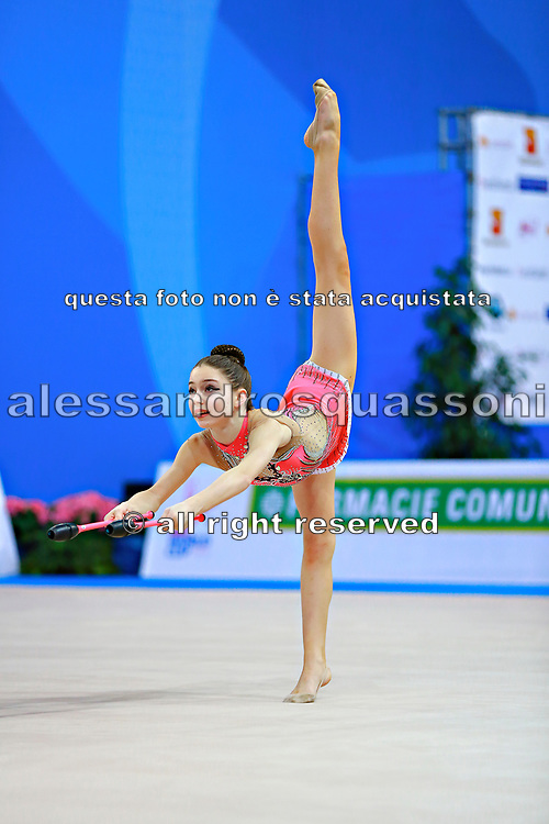 """Arbolishvili Ketevan during clubs routine at the International Tournament of rhythmic gymnastics """"Città di Pesaro"""", 02 April, 2016. Ketevan is an Azerbaijan individualistic gymnast, born in Tblisi, 2003.<br /> This tournament dedicated to the youngest athletes is at the same time of the World Cup."""