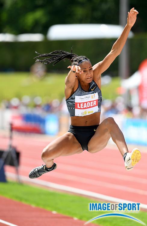 Nafi Thiam aka Nafissatou Thiam (BEL) jumps 21-10¾ (6.67m) in the heptathlon long jump during the DecaStar meeting, Saturday, June 23, 2019, in Talence, France. Thiam won with 6,819 points. (Jiro Mochizuki/Image of Sport via AP)