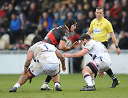 Dragons James Sheekey<br /> Photographer Mike Jones/Replay Images<br /> <br /> European Rugby Challenge Cup Round 6 - Dragons v Bordeaux Begles - Saturday 20th January 2018 - Rodney Parade - Newport<br /> <br /> World Copyright © Replay Images . All rights reserved. info@replayimages.co.uk - http://replayimages.co.uk