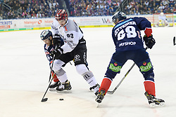 01.03.2019, O2 World, Berlin, GER, DEL, Eisbaeren Berlin vs Koelner Haie, 52. Runde, im Bild v.l. Sean Backman - Eisbaeren, Sebastian Uvira #93 - Haie, Florian Kettemer - Eisbaeren // during the DEL 52th round match between Eisbaeren Berlin and Koelner Haie at the O2 World in Berlin, Germany on 2019/03/01. EXPA Pictures © 2019, PhotoCredit: EXPA/ Eibner-Pressefoto/ Uwe Koch<br /> <br /> *****ATTENTION - OUT of GER*****