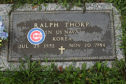 31 August 2017:   Veterans graves in Park Hill Cemetery in eastern McLean County.<br /> <br /> Ralph Thorp SN US Navy Korea Jul 29 1932 Nov 20 1984 (Cubs Fan)
