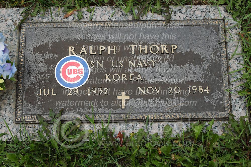 31 August 2017:   Veterans graves in Park Hill Cemetery in eastern McLean County.<br /> <br /> Ralph Thorp SN US Navy Korea Jul 29 1932 Nov 20 1984 (Cubs Fan)